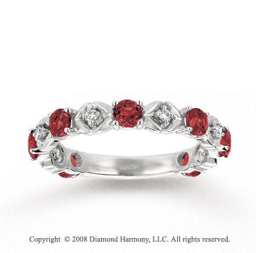 14k White Gold Prong Garnet Diamond Stackable Ring
