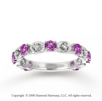 14k White Gold Prong Amethyst Diamond Stackable Ring