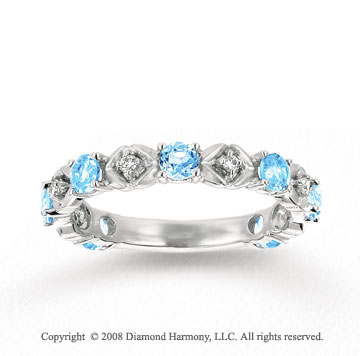 14k White Gold Prong Sky Blue Topaz Diamond Stackable Ring