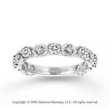 14k White Gold Prong White Topaz Diamond Stackable Ring