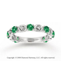 14k White Gold Prong Emerald Diamond Stackable Ring