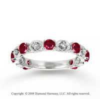 14k White Gold Prong Ruby Diamond Stackable Ring