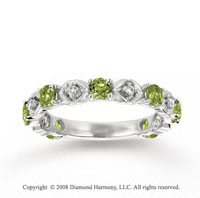 14k White Gold Prong Peridot Diamond Stackable Ring