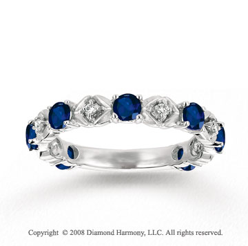 14k White Gold Prong Blue Sapphire Diamond Stackable Ring