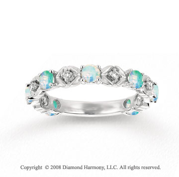 14k White Gold Prong Opal Diamond Stackable Ring