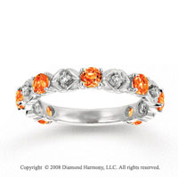 14k White Gold Prong Citrine Diamond Stackable Ring