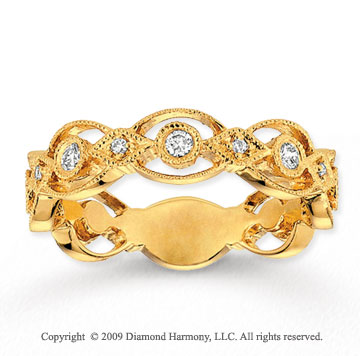 14k Yellow Gold 1/3 Carat Diamond Filigree Stackable Ring