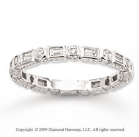 14k White Gold 2/5 Carat Diamond Antique Style Stackable Ring