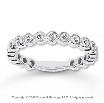 14k White Gold 1/2 Carat Diamond Bubbles Stackable Ring