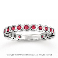 14k White Gold 3/4 Carat Ruby Bubbles Stackable Ring