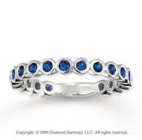 14k White Gold 3/4 Carat Blue Sapphire Bubbles Stackable Ring