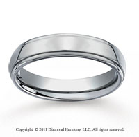 Titanium 5mm Comfort-Fit Stepped Edge Wedding Band