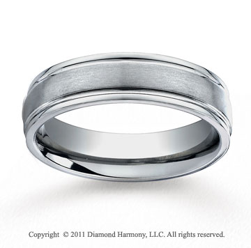 Titanium 6mm Comfort-Fit Satin-Finished Round Edge Wedding Band