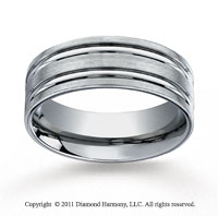 Titanium 8mm Comfort-Fit Satin-Finished Concaved Cuts Wedding Band