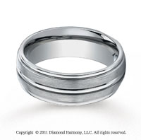 Titanium 8mm Comfort-Fit Satin-Finished Round Edge Wedding Band