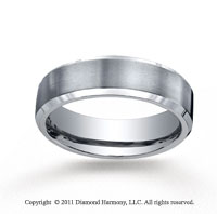 Titanium 7mm Comfort-Fit Satin-Finished Beveled Edge Wedding Band