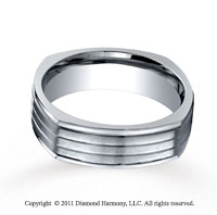 Titanium 7mm Comfort-Fit Satin-Finished Four-Sided Wedding Band
