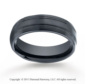 Ceramic 7mm Comfort-Fit Satin-Finished Wedding Band