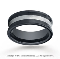 Ceramic 8mm Comfort-Fit Satin-Finished Concave Silver Inlay Wedding Band