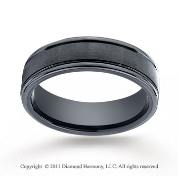 Ceramic 6mm Comfort-Fit Satin-Finished Round Edge Wedding Band