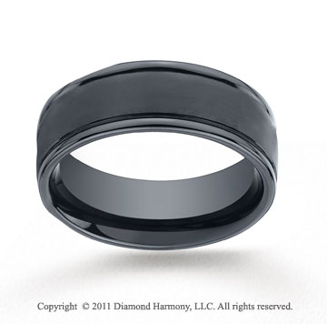 Ceramic 8mm Comfort-Fit Satin-Finished Round Edge Wedding Band