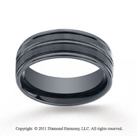 Ceramic 8mm Comfort-Fit Satin-Finished High Polished Center & Round Edge Wedding Band