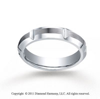 Cobaltchrome� 10mm Comfort-Fit Satin-Finished, High Polished Grooves & Beveled Edge Wedding Band