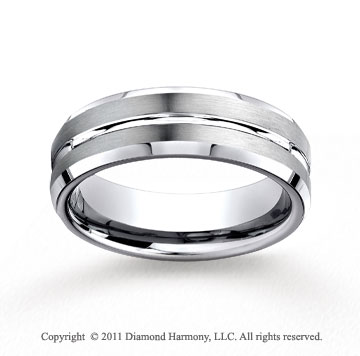 Cobaltchrome� 7mm Comfort-Fit Satin-Finished Beveled Edge Wedding Band