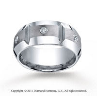 Cobaltchrome� 10mm Comfort-Fit 3-Stone 1/5 Carat Diamond Wedding Band