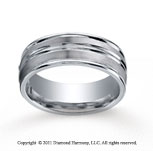 Cobaltchrome� 8mm Comfort-Fit Satin-Finished High Polished Center & Round Edge Wedding Band