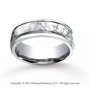 Cobaltchrome� 7mm Comfort-Fit Hammered-Finished Wedding Band