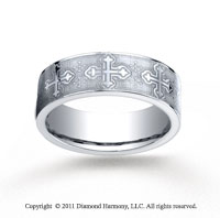 Cobaltchrome� 7mm Comfort-Fit Cross Wedding Band