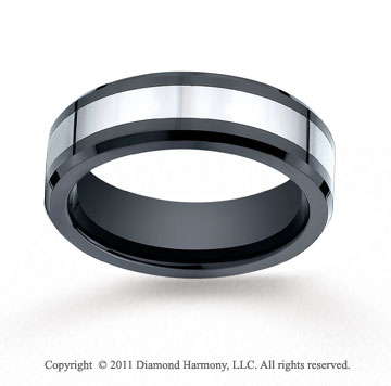 Cobaltchrome�7mm Comfort-Fit Ceramic Beveled Edge Wedding Band