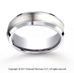 Cobaltchrome�- Silver 7mm Comfort-Fit Satin-Finished Silver Inlay Wedding Band