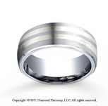 Cobaltchrome�- Silver 8mm Comfort-Fit Satin-Finished Parallel Silver Inlay Wedding Band