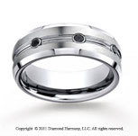 Cobaltchrome� 7.5mm Comfort-Fit 3-Stone 1/5 Carat Black Diamond Wedding Band