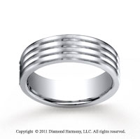 Cobaltchrome� 7.0mm Comfort-Fit  Satin-Finished 4-Roll Wedding Band