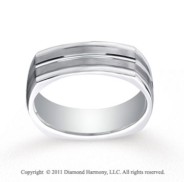 18k White Gold 7mm Comfort-Fit Satin-Finished Center Cut Four-Sided Carved Design Band