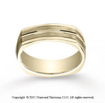 18k Yellow Gold 7mm Comfort-Fit Satin-Finished Center Cut Four-Sided Carved Design Band