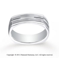 Platinum 7mm Comfort-Fit Satin-Finished Center Cut Four-Sided Carved Design Band