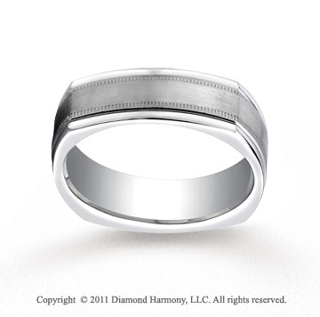 14k White Gold 7mm Comfort-Fit Satin-Finished with Milgrain Four-Sided Carved Design Band