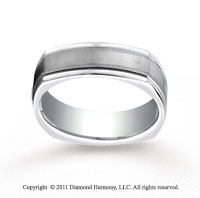 18k White Gold 7mm Comfort-Fit Satin-Finished with Milgrain Four-Sided Carved Design Band