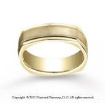 18k Yellow Gold 7mm Comfort-Fit Satin-Finished with Milgrain Four-Sided Carved Design Band