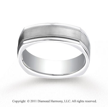 Platinum 7mm Comfort-Fit Satin-Finished with Milgrain Four-Sided Carved Design Band