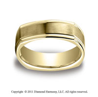 14k Yellow Gold 7mm Comfort-Fit Satin-Finished Four-Sided Carved Design Band