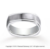 Platinum 7mm Comfort-Fit Satin-Finished Four-Sided Carved Design Band