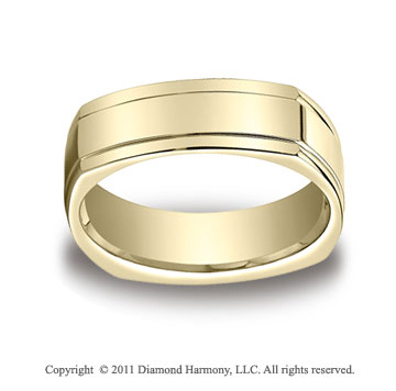 18k Yellow Gold 7mm Comfort-Fit High Polished Four-Sided Carved Design Band