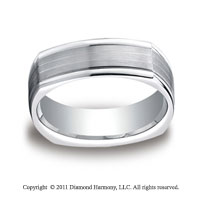 14k White Gold 7mm Comfort-Fit Satin-Finished Parallel Center Cuts Four-Sided Carved Design Band