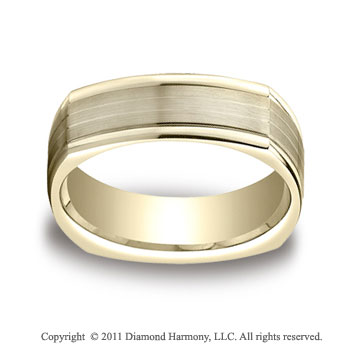 14k Yellow Gold 7mm Comfort-Fit Satin-Finished Parallel Center Cuts Four-Sided Carved Design Band