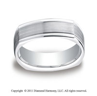Platinum 7mm Comfort-Fit Satin-Finished Parallel Center Cuts Four-Sided Carved Design Band